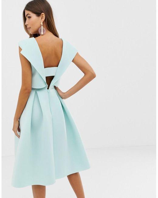 e25e7b6b7e3d3 ... ASOS - Green Fold Back Crop Top Midi Prom Dress - Lyst