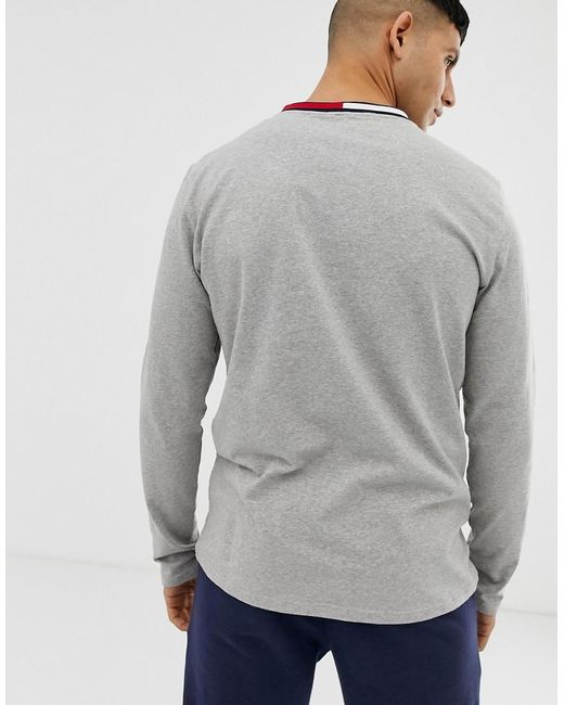 cbe4214d ... Tommy Hilfiger - Gray Crew Neck Long Sleeve T-shirt With Contrast Icon  Flag Neck