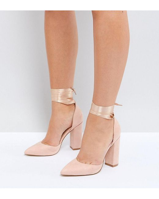 Truffle Collection - Natural Wide Fit Block Heel Shoe - Lyst