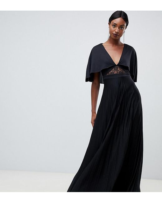 af05e0eba9 ASOS - Black Cape Pleated Lace Insert Maxi Dress - Lyst ...