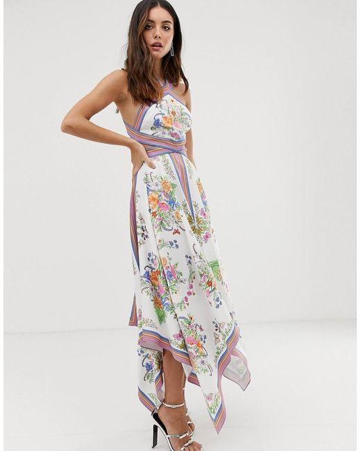 226fea3d9fa9 ASOS - Multicolor Scarf Print Halter Midi Dress With Cutout Sides - Lyst ...