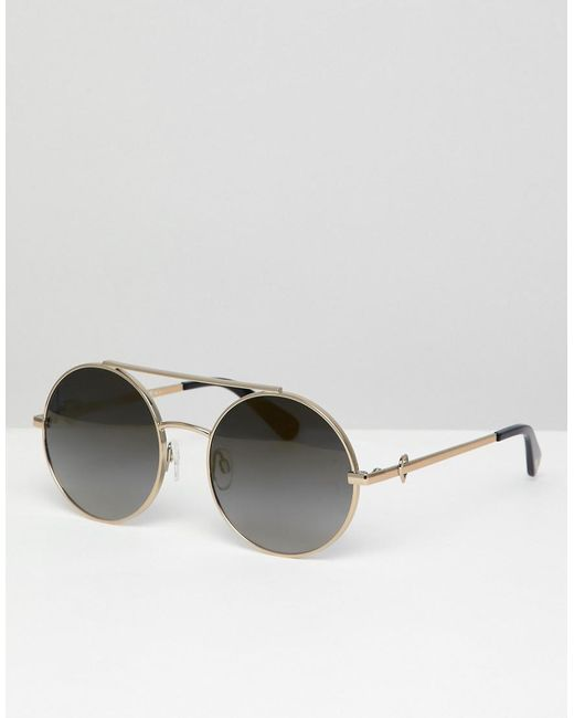 4700823a305 Love Moschino - Metallic Round Double Brow Sunglasses In Gold for Men - Lyst  ...