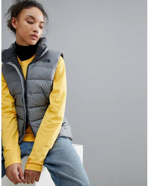 The North Face - Gray Women's Nuptse Vest In Grey - Lyst