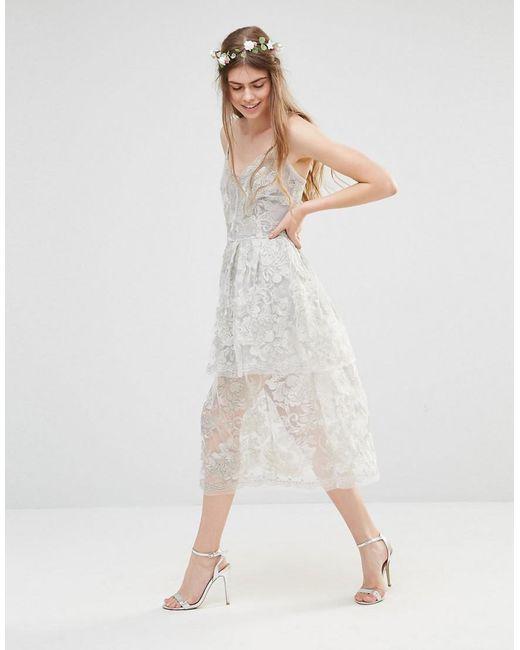 Wedding Freesia Layered Dress - Silver Body Frock GfDm167