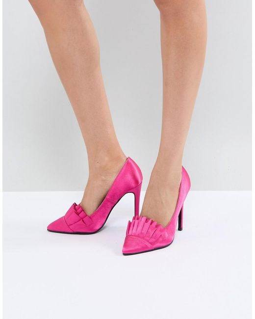 Lost Ink - Bright Pink Ruffle Heeled Shoes - Lyst