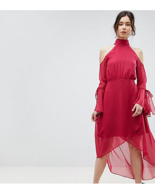 True Decadence - Pink Premium Cold Shoulder Wrap Front Midi Dress With Fluted Sleeve Detail - Lyst