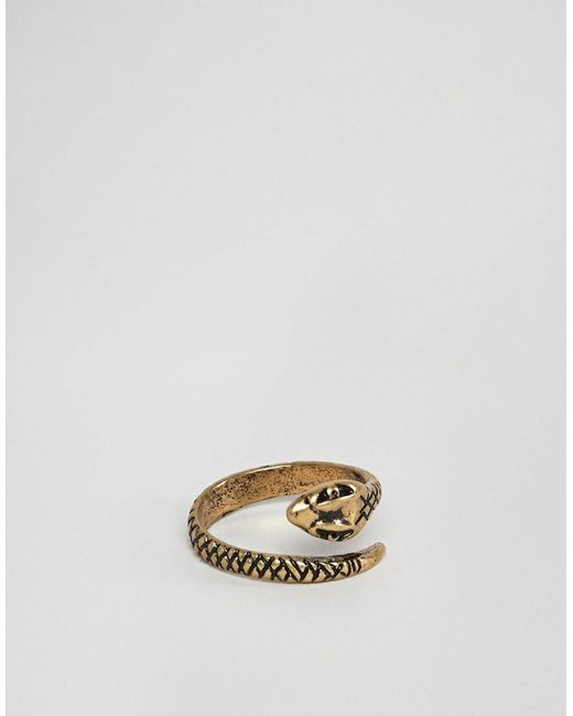 ASOS - Metallic Ring With Wrap Around Snake In Burnished Gold Tone for Men - Lyst