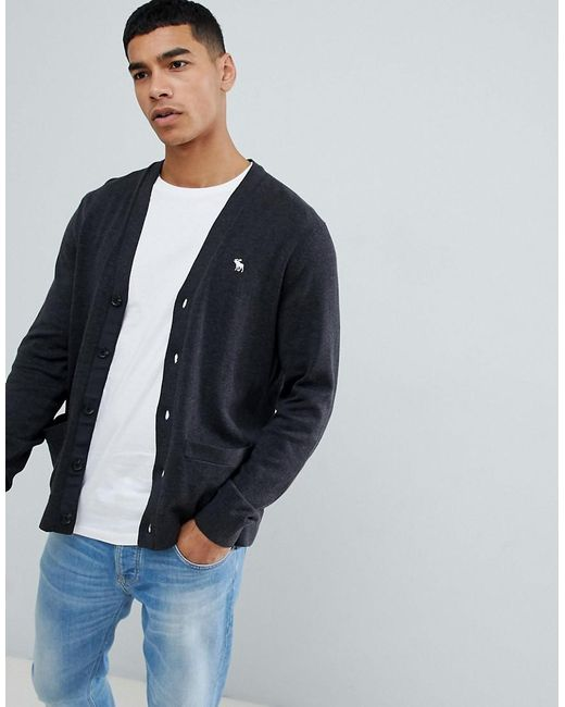 c0748896b4e Abercrombie   Fitch - Icon Logo Knit Cardigan In Dark Gray Marl for Men -  Lyst ...