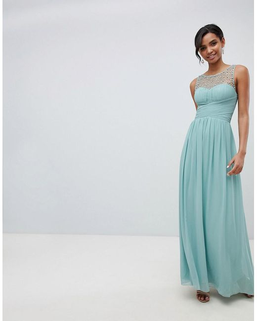 Little Mistress - Green Embellished Top Maxi Dress In Sage - Lyst