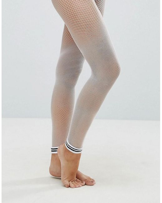 ASOS   Stripe Cuff Footless Fishnet Tights In White   Lyst