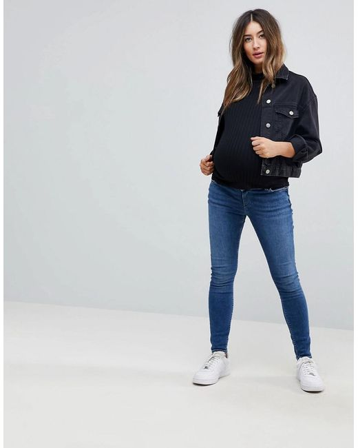 ASOS DESIGN Maternity Tall Ridley skinny jeans in roy wash with over the bump waistband - Darkwash blue Asos Maternity H0NT4