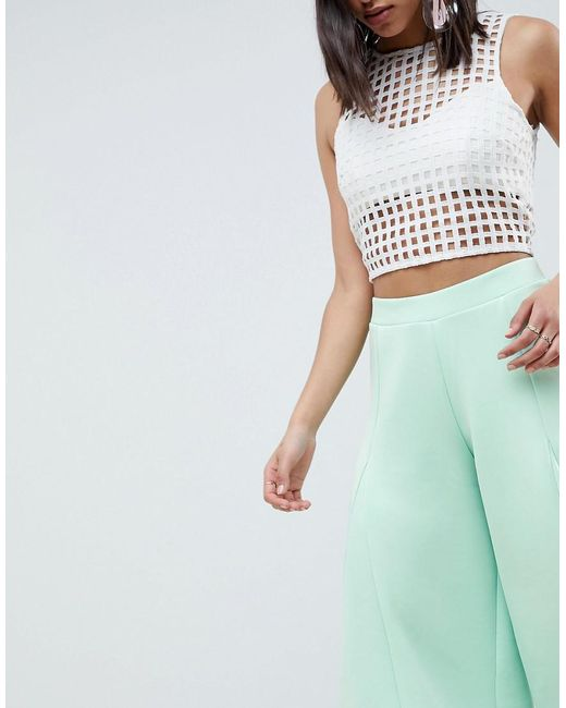 DESIGN cropped wide leg trousers with flowing hem - Green Asos Kc2Wk