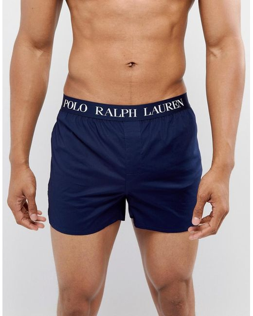 Polo Ralph Lauren - Blue Slim Fit Woven Boxers Logo Waistband In Navy for Men - Lyst
