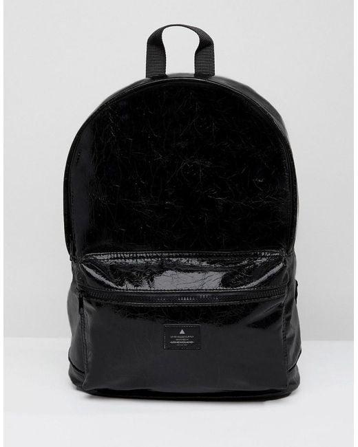 ASOS - Black Backpack In Vinyl Faux Leather for Men - Lyst