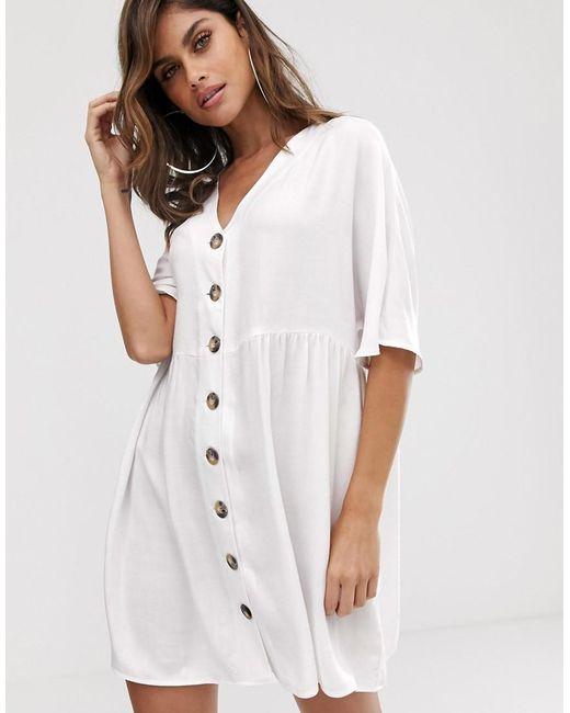 5c918022461 ASOS - White V Neck Button Through Mini Smock Dress - Lyst ...