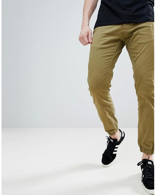 Solid - Green Textured Cuffed Chinos for Men - Lyst