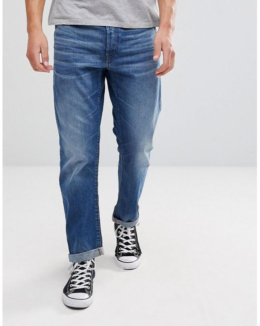 g star raw type c 3d straight jeans midwash in blue for. Black Bedroom Furniture Sets. Home Design Ideas
