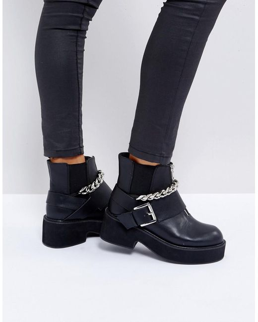ASOS - Black Rossi Chunky Hardware Boots - Lyst