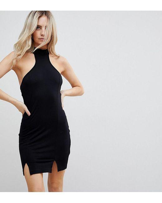 ASOS - Black Choker Neck Mini Bodycon Dress With Splits - Lyst