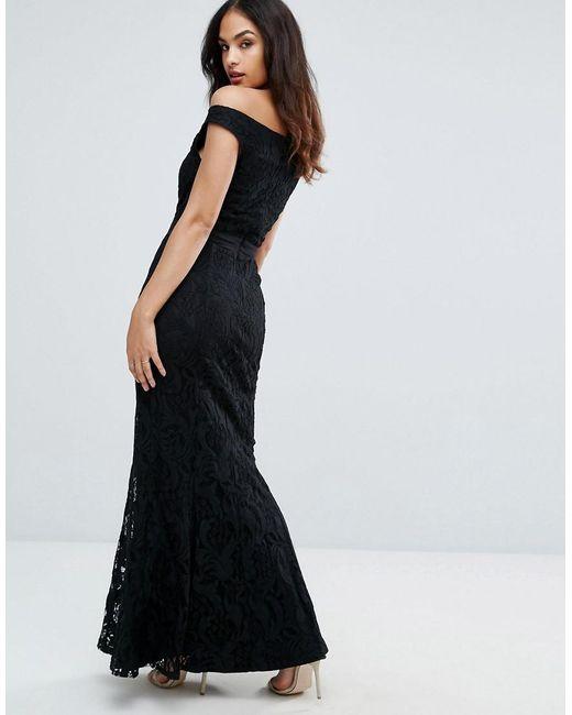 ad034f415ccb ... Little Mistress - Black Lace Bardot Maxi Dress - Lyst