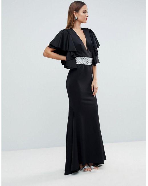 42bfb68007 ASOS - Black Red Carpet Deep Plunge Scuba Ruffle Sleeve Maxi Dress With  Detachable Belt ...