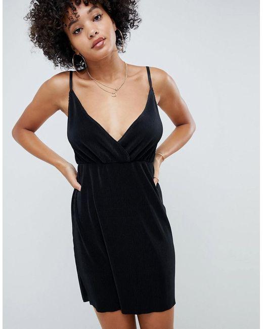 ASOS - Black Cami Wrap Plisse Mini Dress - Lyst