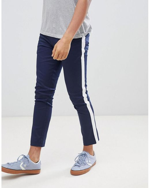 Boohoo - Blue Tapered Chinos With Side Panel Detail In Navy for Men - Lyst