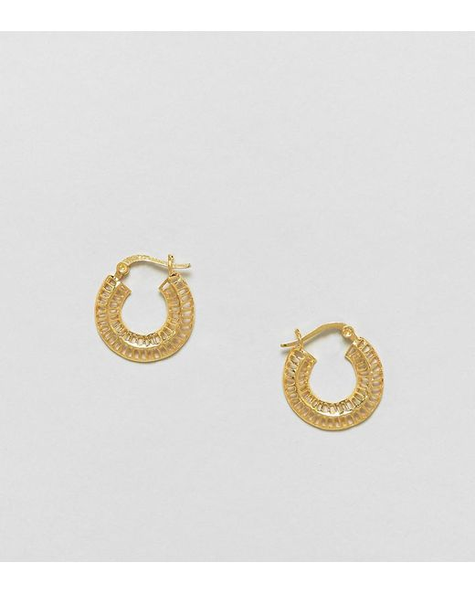 ASOS | Metallic Gold Plated Sterling Silver Cut Out Hoop Earrings | Lyst