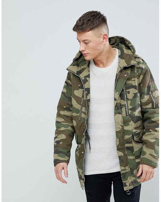 Pull&bear Padded Parka Jacket With Hood In Khaki in Green for Men ...