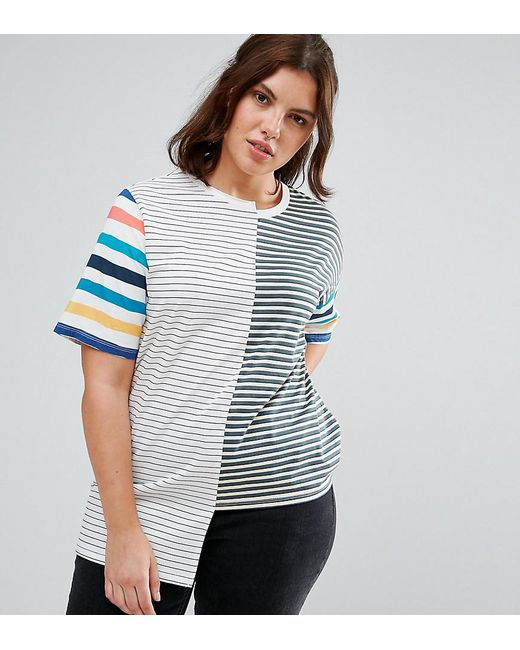 ASOS | Blue T-shirt In Oversized Fit And Mix And Match Stripes | Lyst