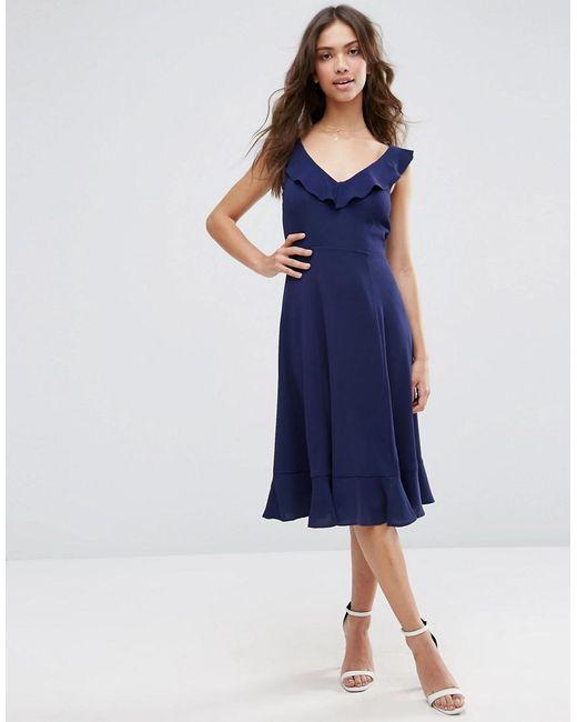 ASOS | Blue Midi Skater Dress With Frill Detail | Lyst
