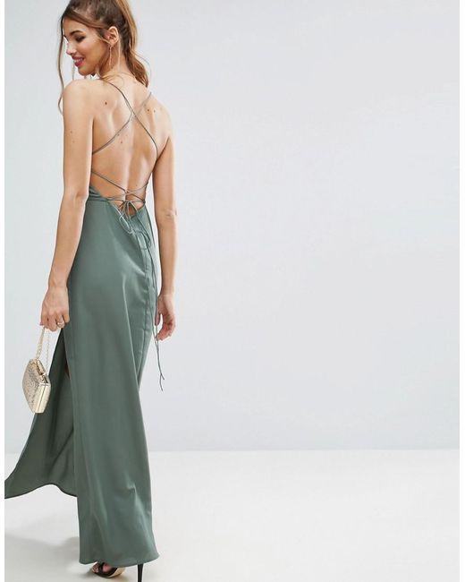 ASOS | Green Plunge Strap Back Maxi Dress | Lyst