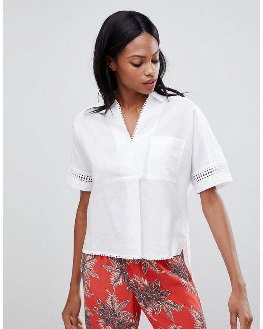 Whistles - White Lace Insert Boxy Shirt - Lyst