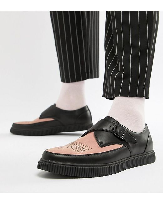 ASOS - Monk Creeper Shoes In Black Faux Leather With Pink Contrast Panel for Men - Lyst