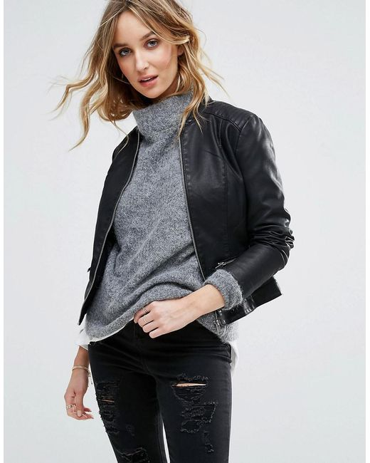 Vila | Black Leather Look Jacket | Lyst