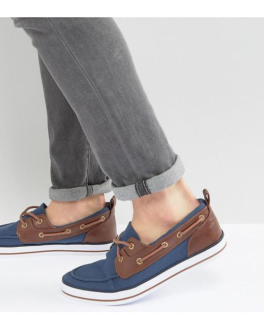 ASOS | Blue Wide Fit Boat Shoes In Navy for Men | Lyst
