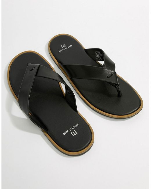 River Island Leather Flip Flop In Brown clearance best place free shipping footaction best cheap online q9DGiDQ521