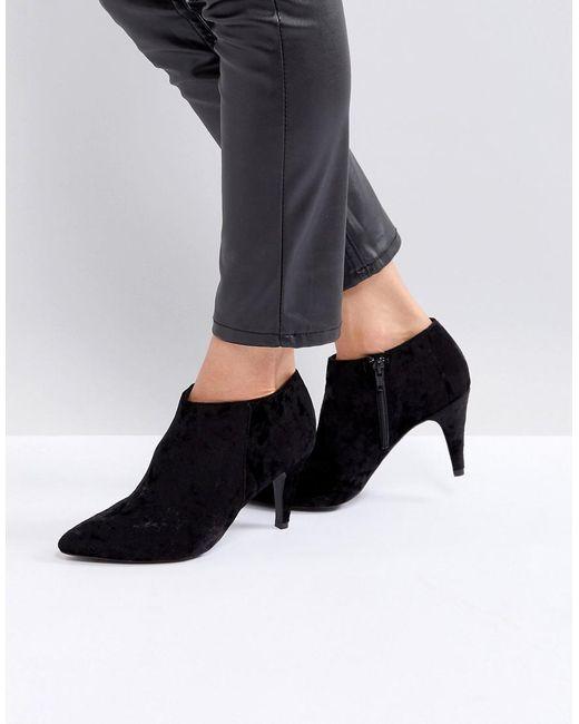 lyst new look velvet point ankle boot in black. Black Bedroom Furniture Sets. Home Design Ideas