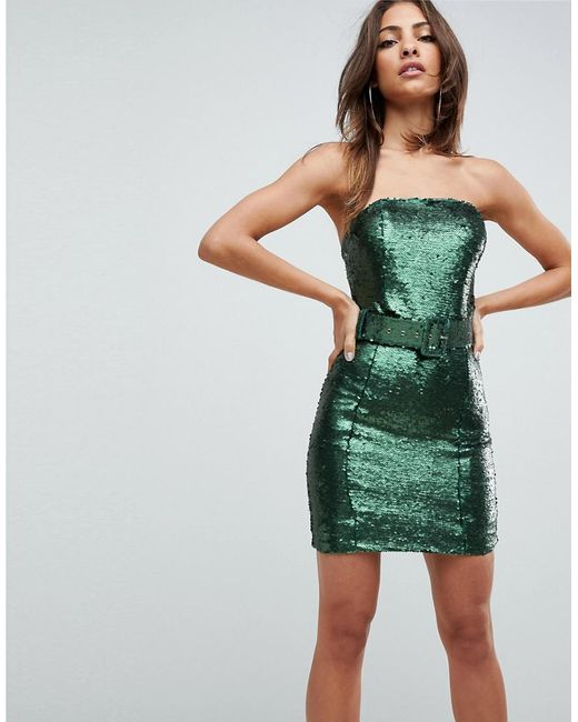 Lyst Asos Sequin 80 S Belted Bandeau Bodycon Mini Dress