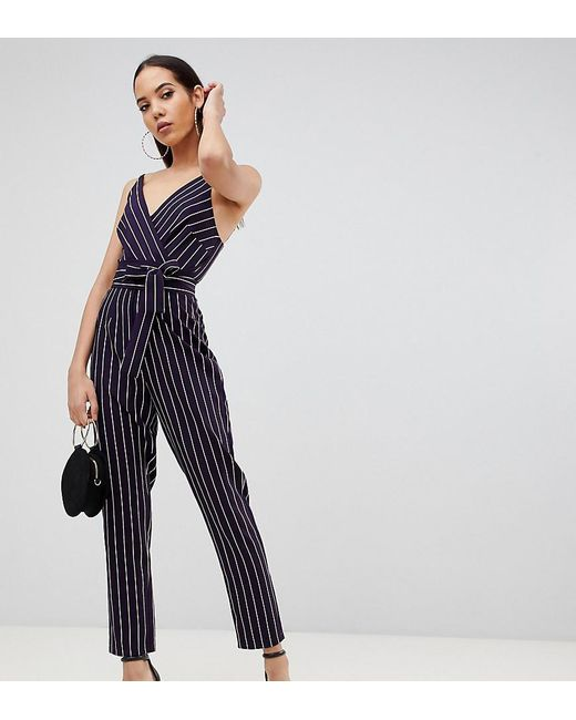 ca8f09345ad5 ASOS - Blue Asos Design Tall Wrap Jumpsuit With Self Belt In Navy Stripe -  Lyst ...
