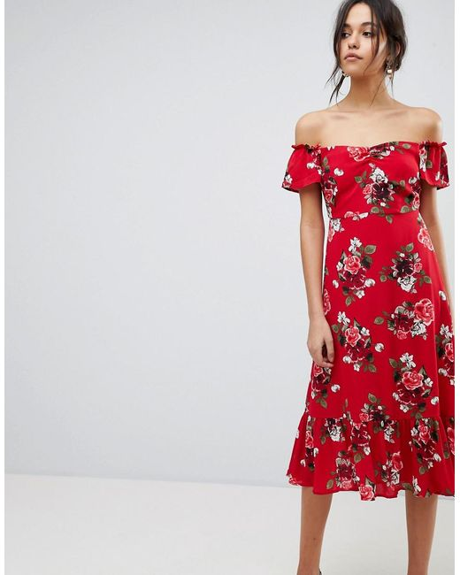 Off the Shoulder Midi Dress