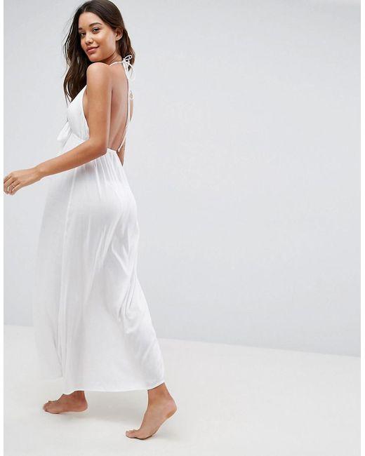 Woven Tie Front Maxi Beach Dress - White Asos HS863mmNW7