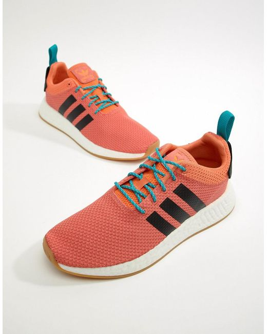 6ac30f427bbc Adidas Originals - Nmd R2 Summer Boost Trainers In Orange Cq3081 for Men -  Lyst ...