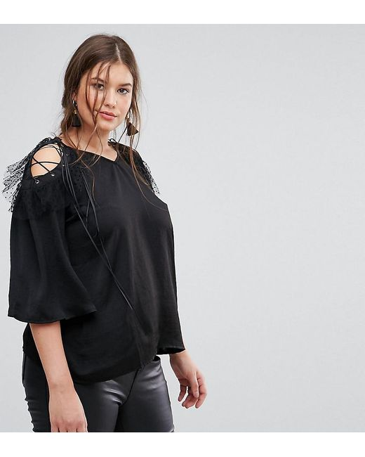 bf4e42e42f34 Simply Be - Black Mesh Detail Cold Shoulder Top - Lyst ...