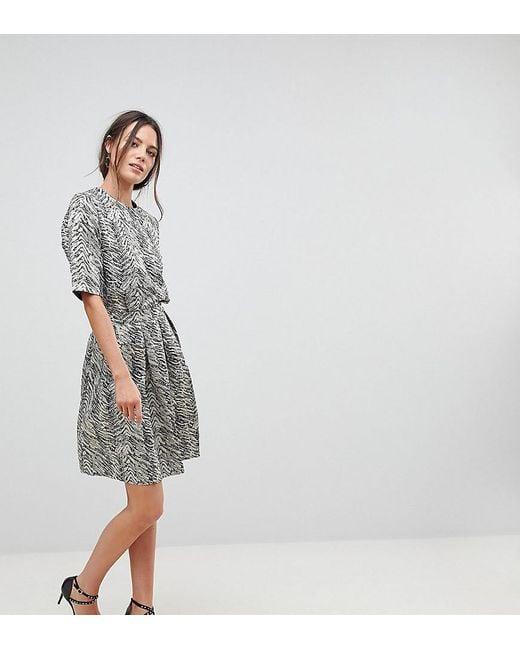 Y.A.S Brown Leaf Jacquard Full Skirt