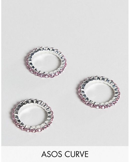 ASOS - Metallic Asos Design Curve Pack Of 3 Rings With Pastel Crystals In Silver - Lyst