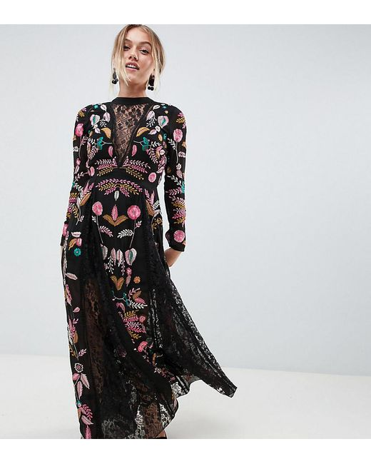 Frock and Frill - Black Embroidered Maxi Dress With Lace Inserts - Lyst