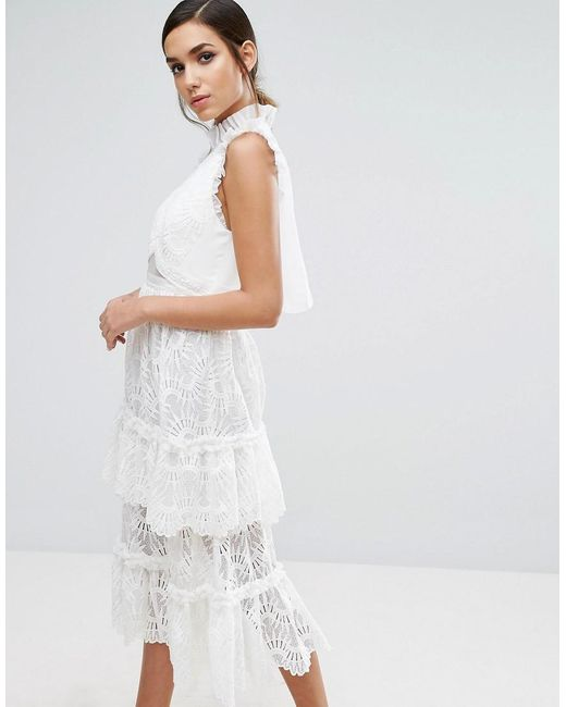 Three floor Tiered Midi Lace Dress in White | Lyst