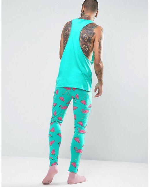 Asos Pajama Set In Flamingo Print In Green For Men