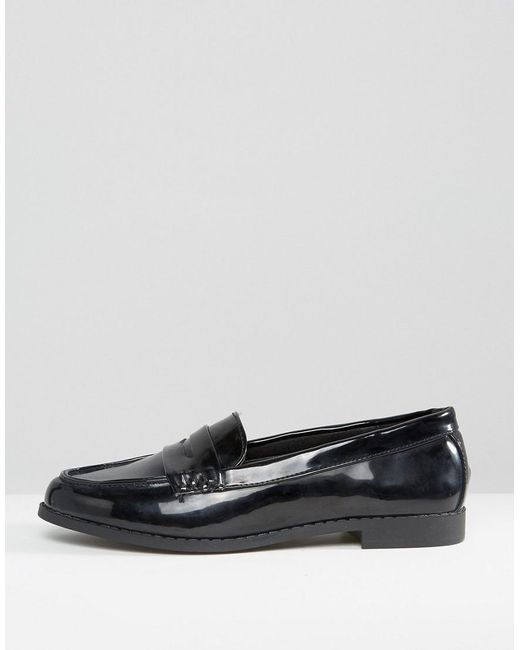 new look new look patent loafers in black lyst